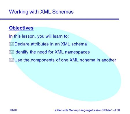 Working with XML Schemas ©NIITeXtensible Markup Language/Lesson 3/Slide 1 of 36 Objectives In this lesson, you will learn to: * Declare attributes in an.