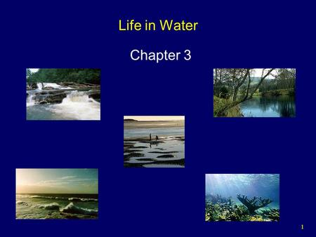 1 Life in Water Chapter 3. 2 The Hydrologic Cycle Over 71% of the earth's surface is covered by water:  Oceans contain 97%.  Polar ice caps and glaciers.