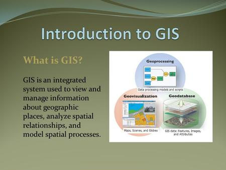 What is GIS? GIS is an integrated system used to view and manage information about geographic places, analyze spatial relationships, and model spatial.