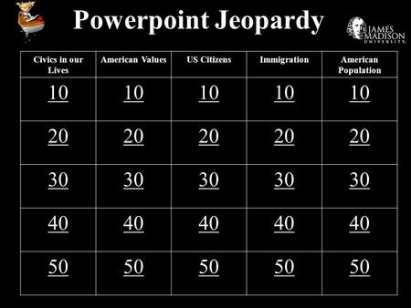 Powerpoint Jeopardy Civics in our Lives American ValuesUS CitizensImmigrationAmerican Population 10 20 30 40 50.
