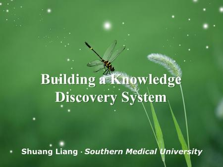 Shuang Liang ● Southern Medical University Building a Knowledge Discovery System.