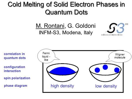 Cold Melting of Solid Electron Phases in Quantum Dots M. Rontani, G. Goldoni INFM-S3, Modena, Italy phase diagram correlation in quantum dots configuration.