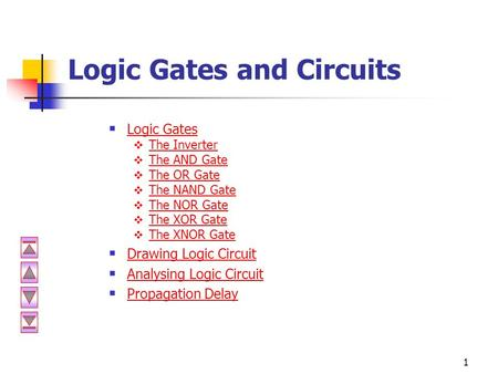 1 Logic Gates and Circuits  Logic Gates Logic Gates  The Inverter The Inverter  The AND Gate The AND Gate  The OR Gate The OR Gate  The NAND Gate.