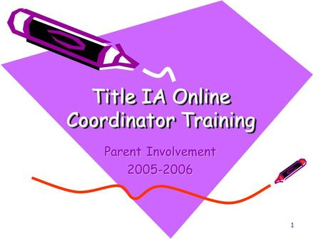 1 Title IA Online Coordinator Training Parent Involvement 2005-2006.