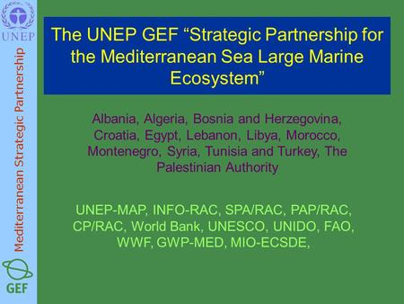 "The UNEP GEF ""Strategic Partnership for the Mediterranean Sea Large Marine Ecosystem"" Albania, Algeria, Bosnia and Herzegovina, Croatia, Egypt, Lebanon,"