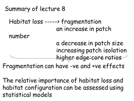 Summary of lecture 8 Habitat loss -----> fragmentation an increase in patch number a decrease in patch size increasing patch isolation higher edge:core.