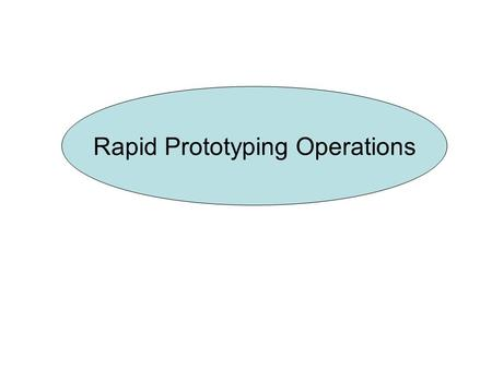 Rapid Prototyping Operations. Rapid prototyping Introduction Subtractive processes Additive process Virtual Prototyping Applications.
