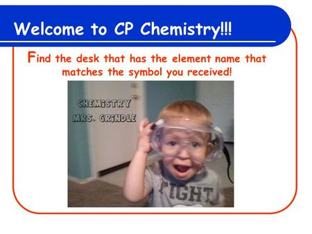 Welcome to CP Chemistry!!! F ind the desk that has the element name that matches the symbol you received!
