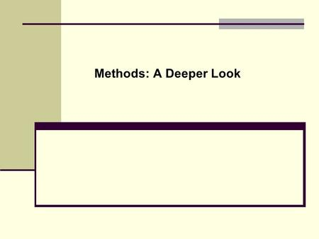 Methods: A Deeper Look. Template for Class Definition public class { } A.Import Statement B.Class Comments C.Class Name D.Data members E.Methods (inc.