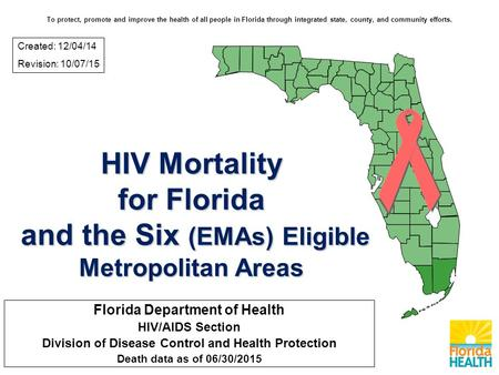 HIV Mortality for Florida and the Six (EMAs) Eligible Metropolitan Areas Florida Department of Health HIV/AIDS Section Division of Disease Control and.
