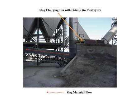 Slag Charging Bin with Grizzly (to Conveyor) Slag Material Flow.