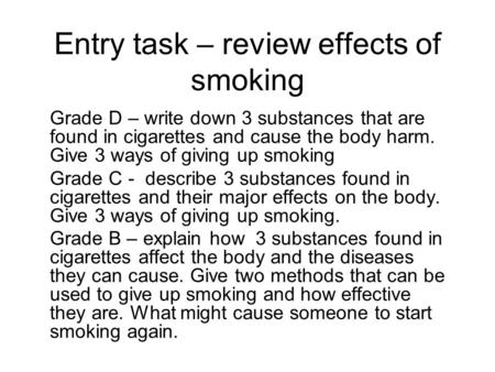 Entry task – review effects of smoking
