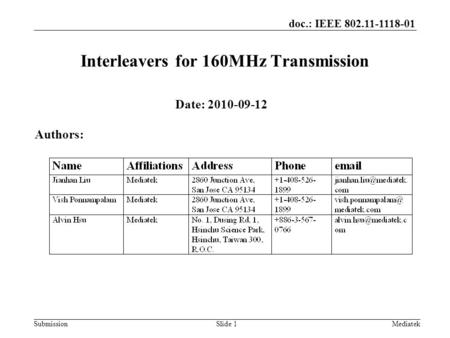Doc.: IEEE 802.11-1118-01 SubmissionSlide 1 Interleavers for 160MHz Transmission Date: 2010-09-12 Authors: Mediatek.