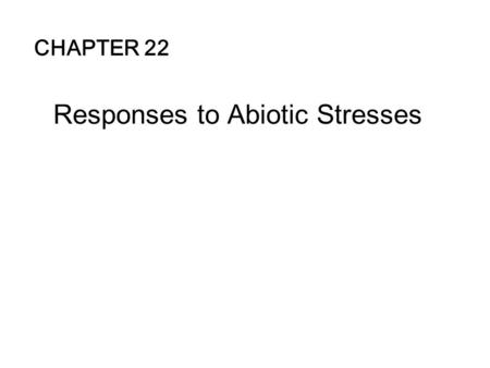 Responses to Abiotic Stresses