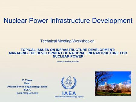 IAEA International Atomic Energy Agency Nuclear Power Infrastructure Development Technical Meeting/Workshop on: TOPICAL ISSUES ON INFRASTRUCTURE DEVELOPMENT: