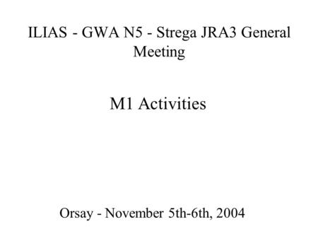 ILIAS - GWA N5 - Strega JRA3 General Meeting Orsay - November 5th-6th, 2004 M1 Activities.