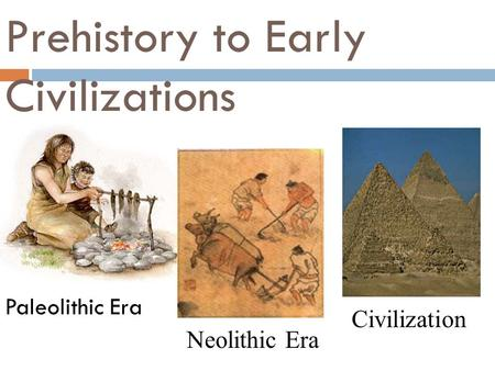 Prehistory to Early Civilizations Paleolithic Era Neolithic Era Civilization.