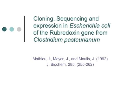 Cloning, Sequencing and expression in Escherichia coli of the Rubredoxin gene from Clostridium pasteurianum Mathieu, I., Meyer, J., and Moulis, J. (1992)