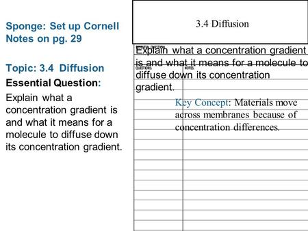 3.3 Cell Membrane Sponge: Set up Cornell Notes on pg. 29 Topic: 3.4 Diffusion Essential Question: Explain what a concentration gradient is and what it.