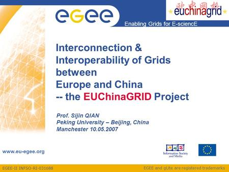 EGEE-II INFSO-RI-031688 Enabling Grids for E-sciencE www.eu-egee.org EGEE and gLite are registered trademarks Interconnection & Interoperability of Grids.