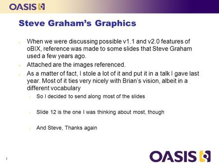 Steve Graham's Graphics n When we were discussing possible v1.1 and v2.0 features of oBIX, reference was made to some slides that Steve Graham used a few.