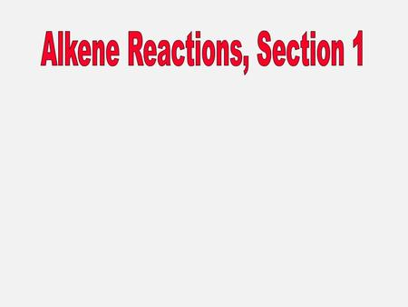 The characteristic reaction of alkenes is addition to the double bond. + A—B C C A C C B Reactions of Alkenes.
