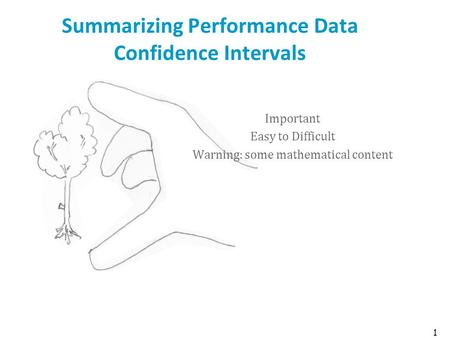 1 Summarizing Performance Data Confidence Intervals Important Easy to Difficult Warning: some mathematical content.