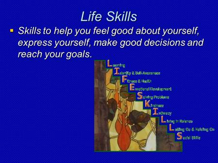 Life Skills  Skills to help you feel good about yourself, express yourself, make good decisions and reach your goals.