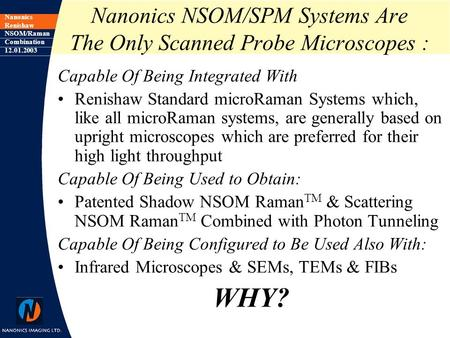 Nanonics Renishaw NSOM/Raman Combination 12.01.2003 Nanonics NSOM/SPM Systems Are The Only Scanned Probe Microscopes : Capable Of Being Integrated With.