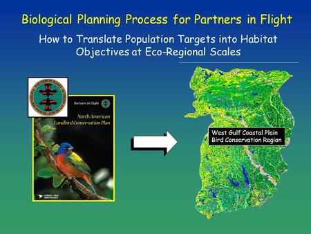 Biological Planning Process for Partners in Flight How to Translate Population Targets into Habitat Objectives at Eco-Regional Scales West Gulf Coastal.