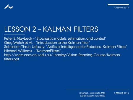 Lesson 2 – kalman Filters