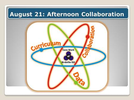 August 21: Afternoon Collaboration. Return to your assigned location after lunch Meet in your assigned PLC group 12:45-2:15 pm: Planning for Learning.