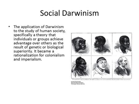 Social Darwinism The application of Darwinism to the study of human society, specifically a theory that individuals or groups achieve advantage over others.