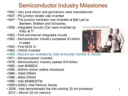 Semiconductor Industry Milestones 1 1942 - Very pure silicon and germanium were manufactured 1947 - PN junction diodes was invented 1947 - The junction.