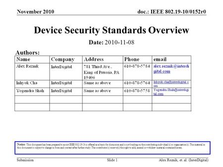 Doc.: IEEE 802.19-10/0152r0 Submission November 2010 Alex Reznik, et. al. (InterDigital)Slide 1 Device Security Standards Overview Notice: This document.