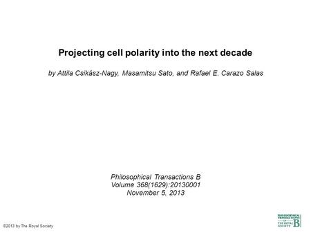 Projecting cell polarity into the next decade by Attila Csikász-Nagy, Masamitsu Sato, and Rafael E. Carazo Salas Philosophical Transactions B Volume 368(1629):20130001.