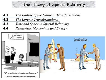 The Theory of Special Relativity. Learning Objectives  Einstein's two postulates in his theory of special relativity: The principle of relativity. (Same.