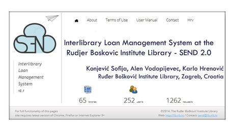 Content Ru đ er Bošković Institute overview Ru đ er Bošković Institute Library overview Short history of SEND Online presentation Challenges Questions.