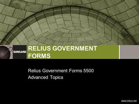 Www.relius.net RELIUS GOVERNMENT FORMS Relius Government Forms 5500 Advanced Topics.