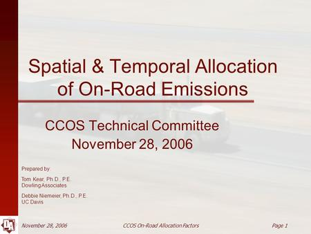 November 28, 2006 CCOS On-Road Allocation Factors Page 1 Spatial & Temporal Allocation of On-Road Emissions CCOS Technical Committee November 28, 2006.