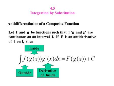 4.5 Integration by Substitution Antidifferentiation of a Composite Function Let f and g be functions such that f o g and g' are continuous on an interval.