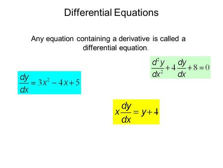 Differential Equations Any equation containing a derivative is called a differential equation.