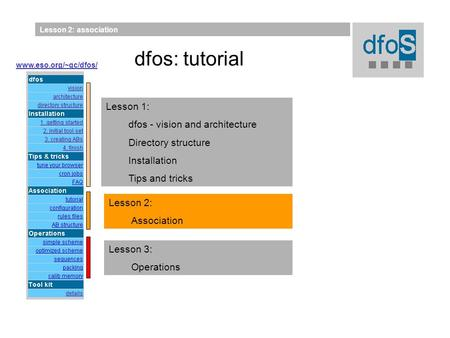 Lesson 2: association Lesson 2: Association Lesson 1: dfos - vision and architecture Directory structure Installation Tips and tricks Lesson 3: Operations.