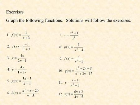 Exercises Graph the following functions. Solutions will follow the exercises.