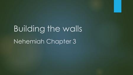 Building the walls Nehemiah Chapter 3. 1 Eliashib the high priest and his fellow priests went to work and rebuilt the Sheep Gate. They dedicated it and.