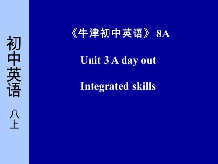 《牛津初中英语》 8A Unit 3 A day out Integrated skills. Part One Pre-listening He was in the final (n.). He won (v.) the match.