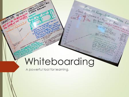 Whiteboarding A powerful tool for learning.. Whiteboarding is about sharing information 2) Your whiteboard contains your results presented:  As a graph.