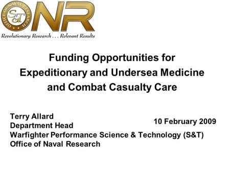 Funding Opportunities for Expeditionary and Undersea Medicine