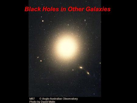 Black Holes in Other Galaxies. The giant elliptical galaxy M87 is located 50 million light-years away in the constellation Virgo. By measuring the rotational.