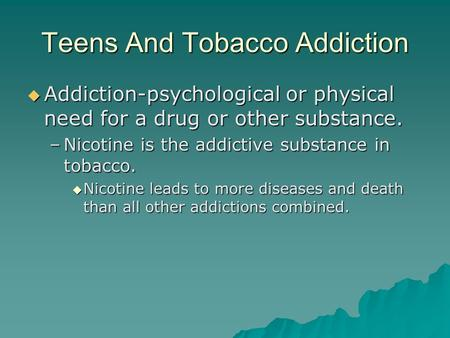 the issue of nicotine addiction and the possible solutions for the disease Reducing the addictiveness of cigarettes be effective causes of nicotine addiction data sources: issues posed by such an approach, and potential solutions.